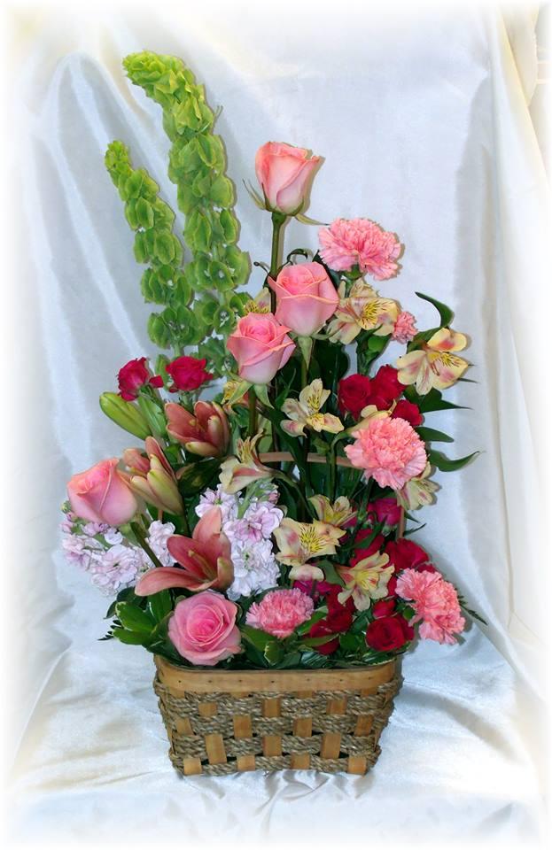 Pink Funeral Basket by MaryJane's Flowers