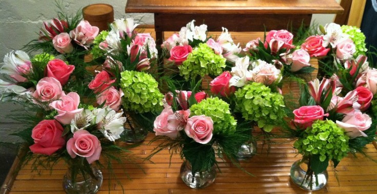 Pink and Green Arrangement by Nest Floral Design