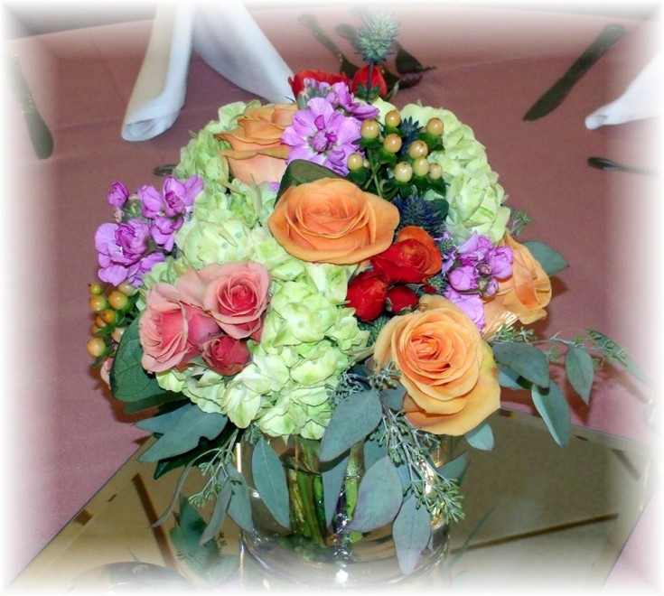Wedding anniversary centerpiece from MaryJane's Flowers & Gifts in Berlin, NJ