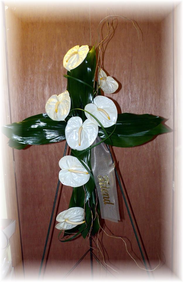 White Anthurium Cross by MaryJane's Flowers