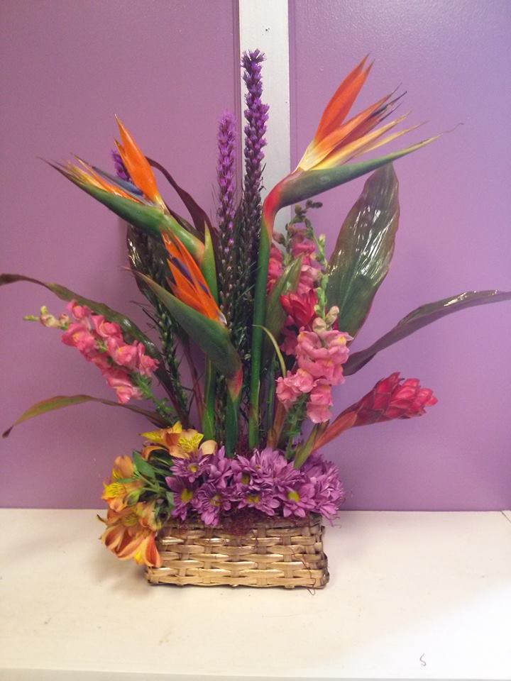A gorgeous tropical display by Yvonnejalina Floral and Gifts in Pittsburg, PA
