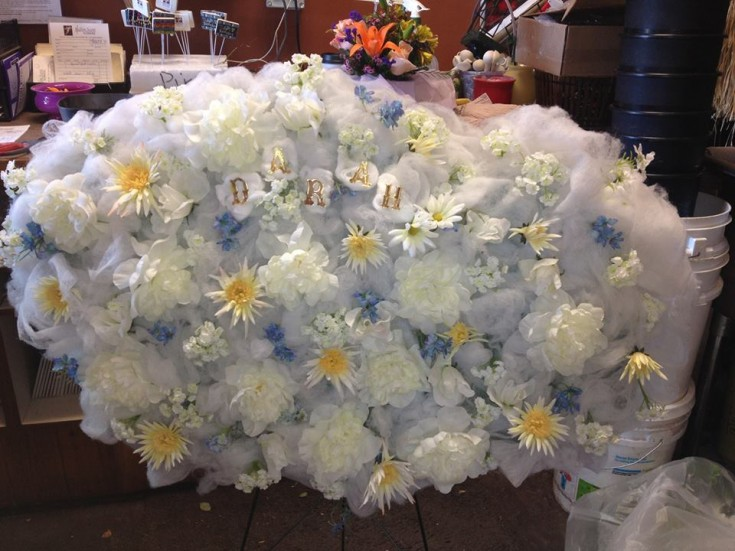 Angel Cloud wreath by Heaven Scent Flowers and The Garden Path Gift Shop in Gimli, Manitoba