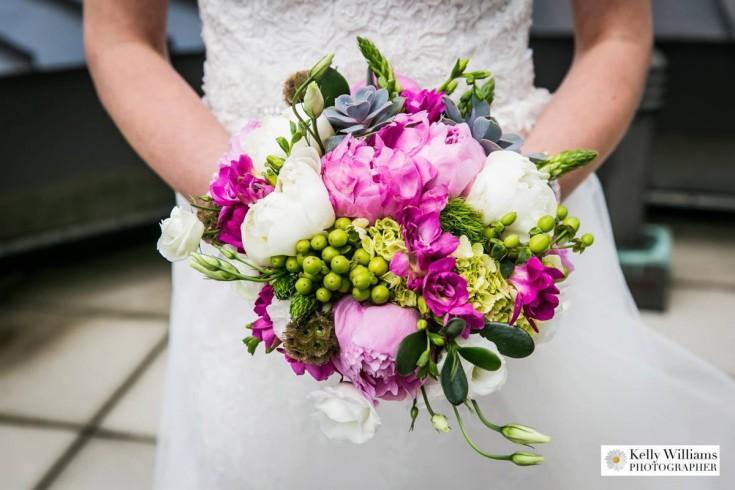 Pink Green Brides Bouquet-CityBlossoms