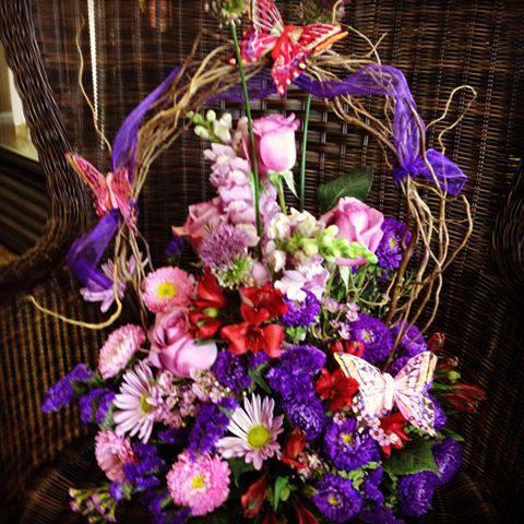 Purple Butterfly Basket - Flower Boutique