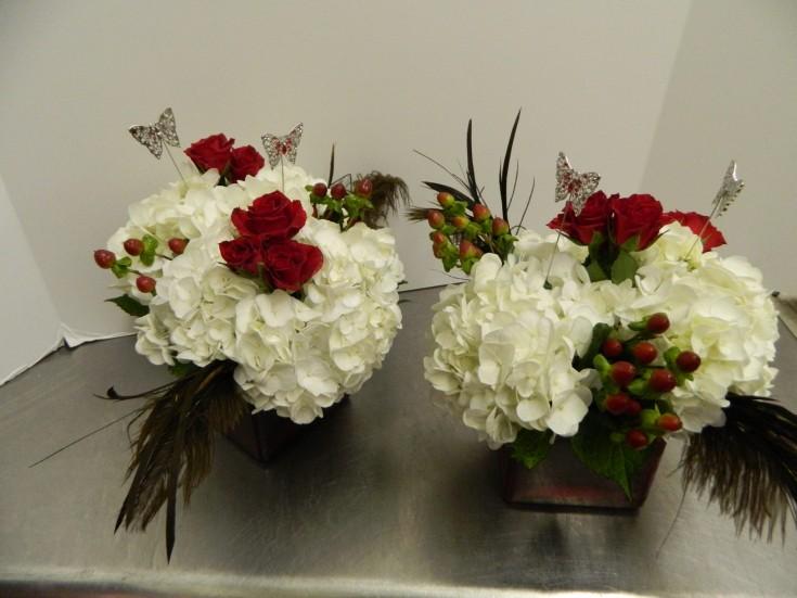 Red White Centerpieces - Bentley Florist