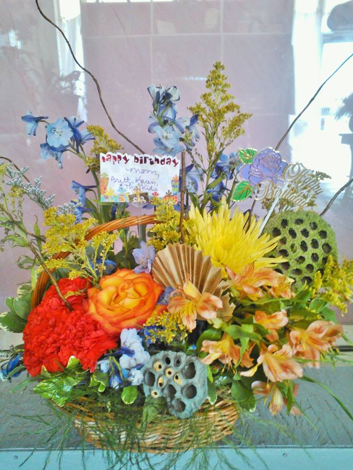 A birthday centerpiece from Wilma's Flowers in Jasper, AL