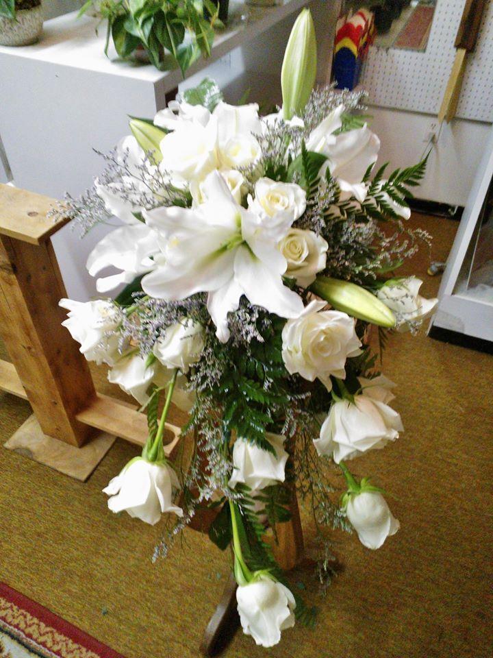 A cascading bouquet from Wilma's Flowers in Jasper, AL