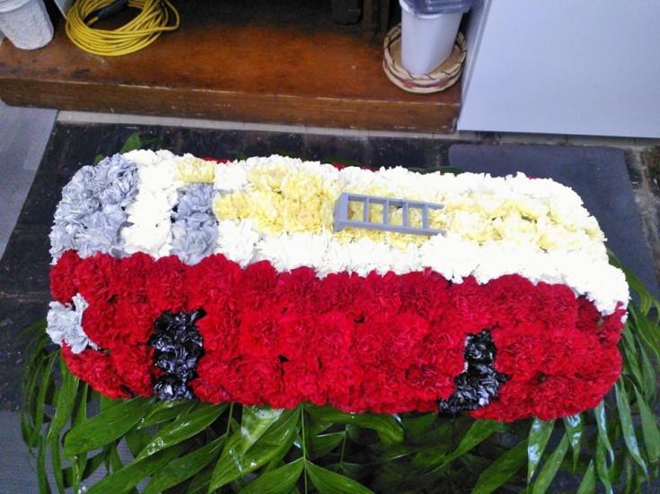 A firetruck from Wilma's Flowers in Jasper, AL