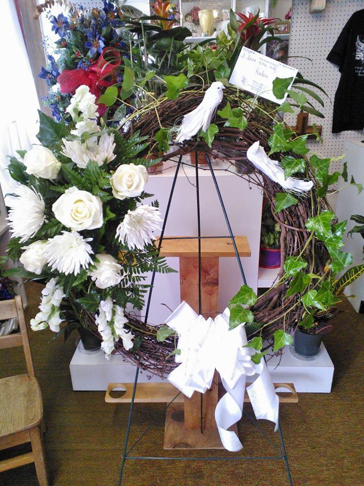 All-white wreath from Wilma's Flowers in Jasper, AL