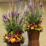 Amazingly creative autumn arrangement by Tom Kenison AIFD of Crossroads Florist in Mahwah, NJ