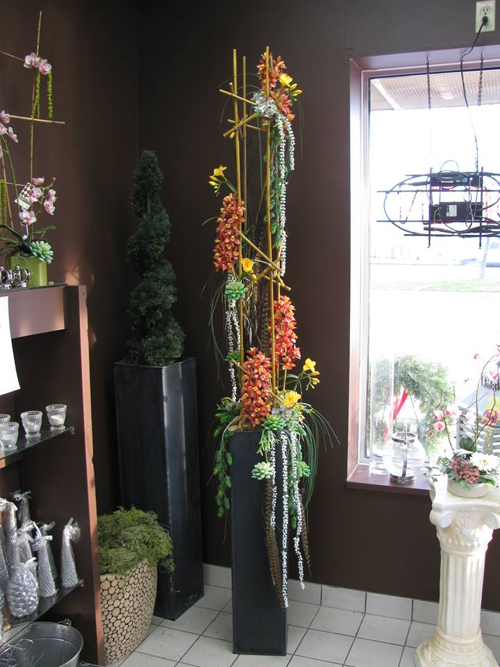 An office arrangement from Argyle Flowers & Design Studio in London, Ontario, Canada