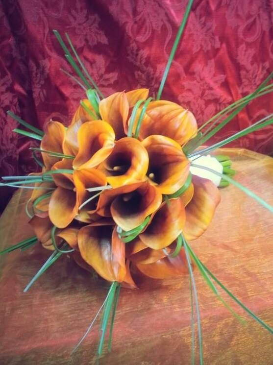 Burnt orange bridal bouquet by Allison at Blue Iris Flowers in Catonsville, MD