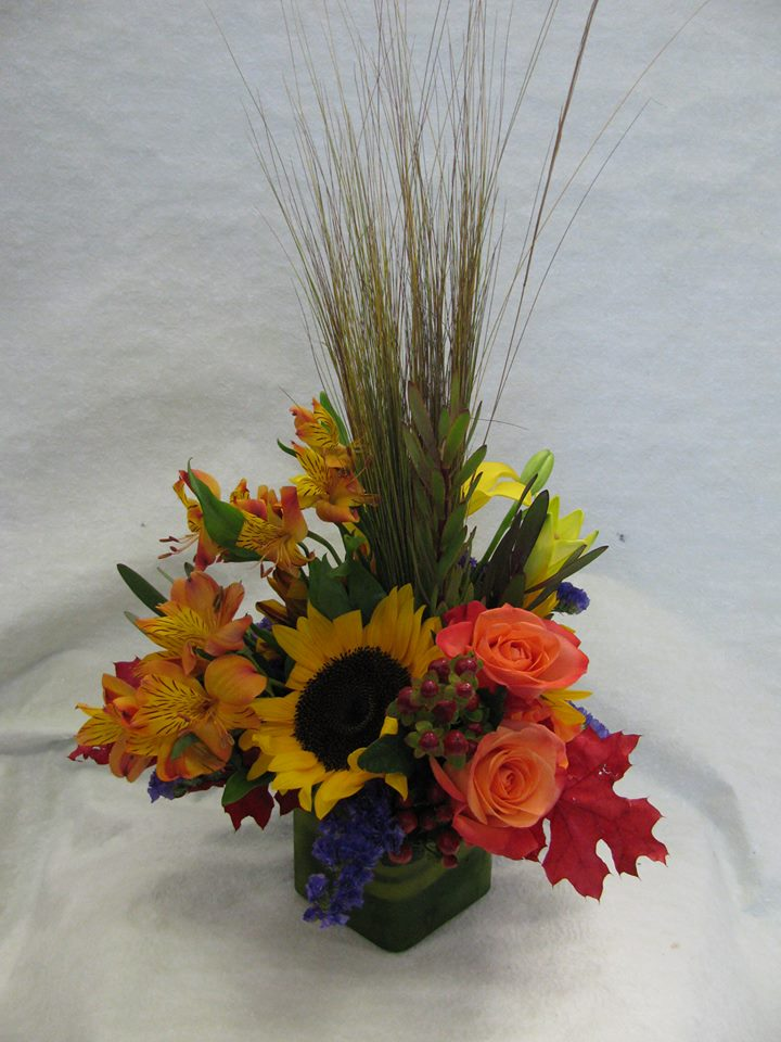 Colorful arrangement by Lori Himes AIFD of A'Bloom LTD in Walkersville, MD
