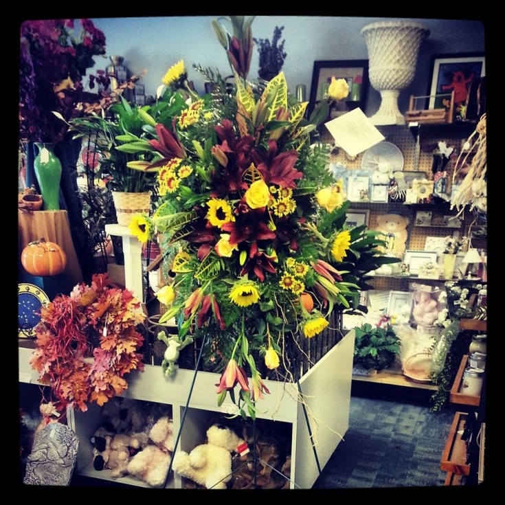 Fall standing spray from Design House Floral in Clarkesville, GA