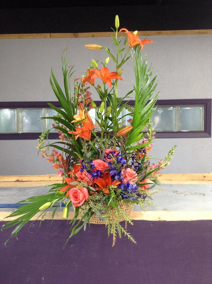 Fall sympathy arrangement from Sweet P's Design in Lubbock, TX