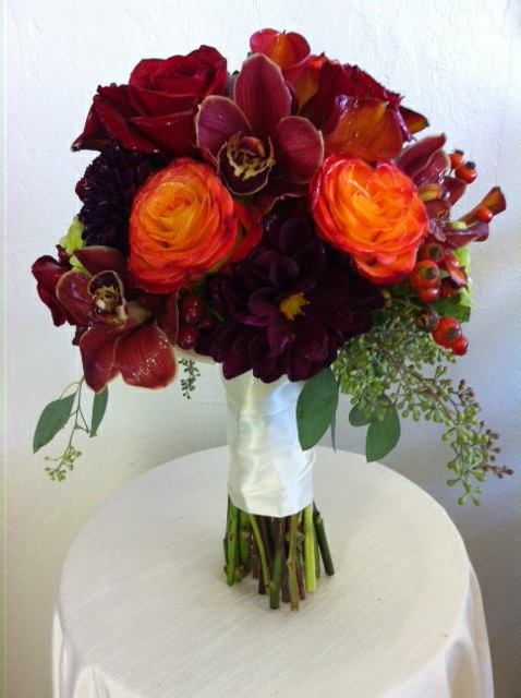Fall wedding bouquet by Robyn at Flowers and More of Fresno in Fresno, CA