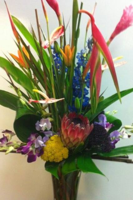 Tropical arrangement from Robyn Martin of Flowers and More in Fresno, CA