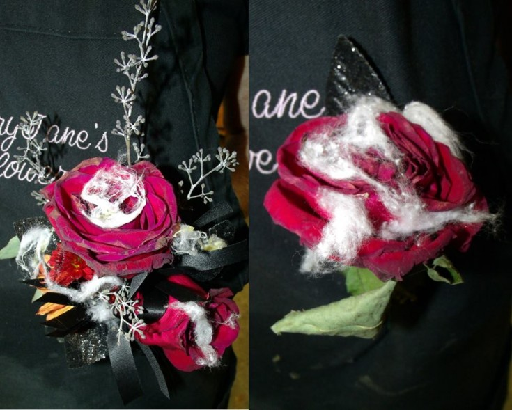 Undead corsage and boutonneire from MaryJane's Flowers in Berlin, NJ