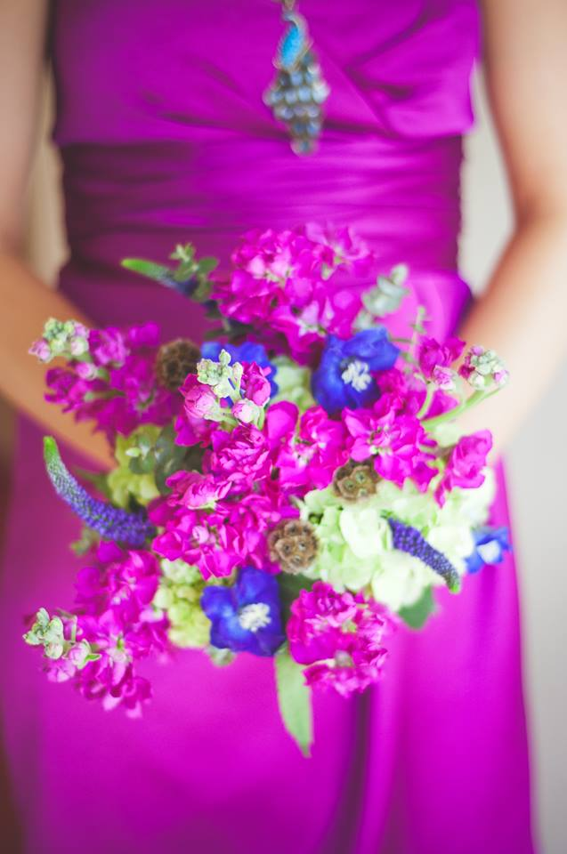 Pink and Purple Bride's Bouquet by Hobby Hill Florist