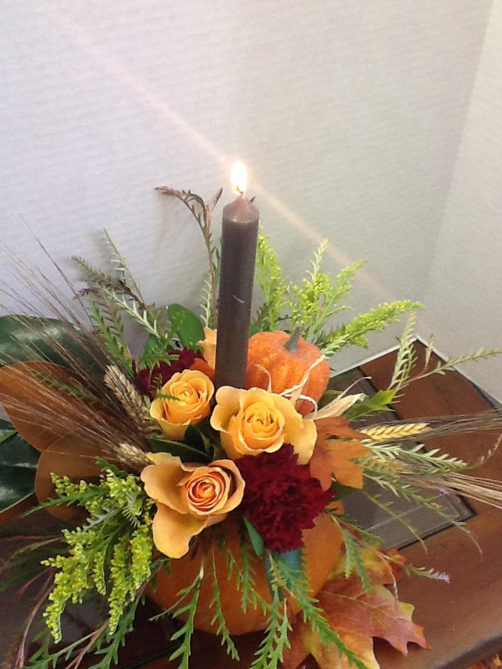 A Thanksgiving arrangement from Tattered Leaf Designs Flowers and Gifts in Lyons, WI