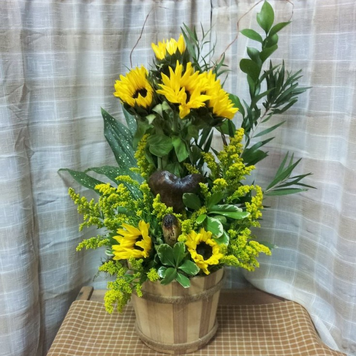 A gorgeous sunflower arrangement from Backwoods Flowers N More in Fairview, WV