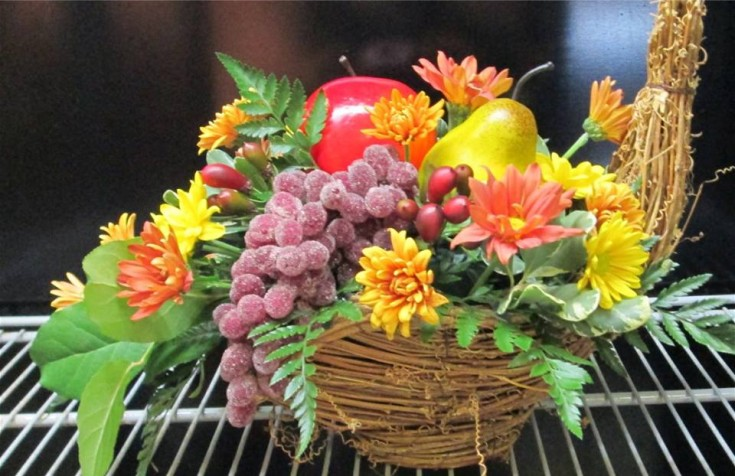 A harvest centerpiece from Inspirations Floral Studio in Lock Haven, PA