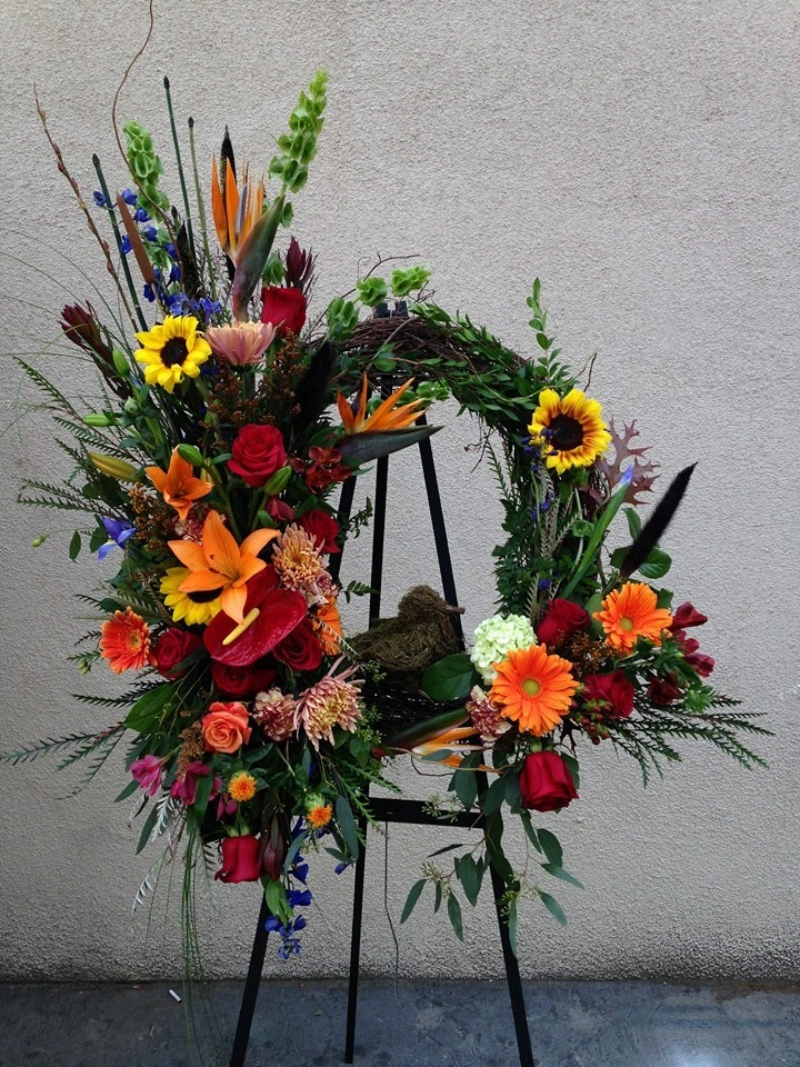 A tribute spray wreath from Flowers and More in Fresno, CA