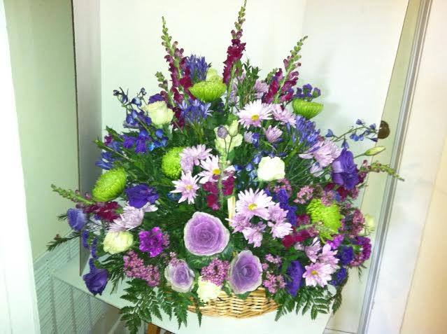 Funeral basket from The Cottage Florist in Riverview, FL