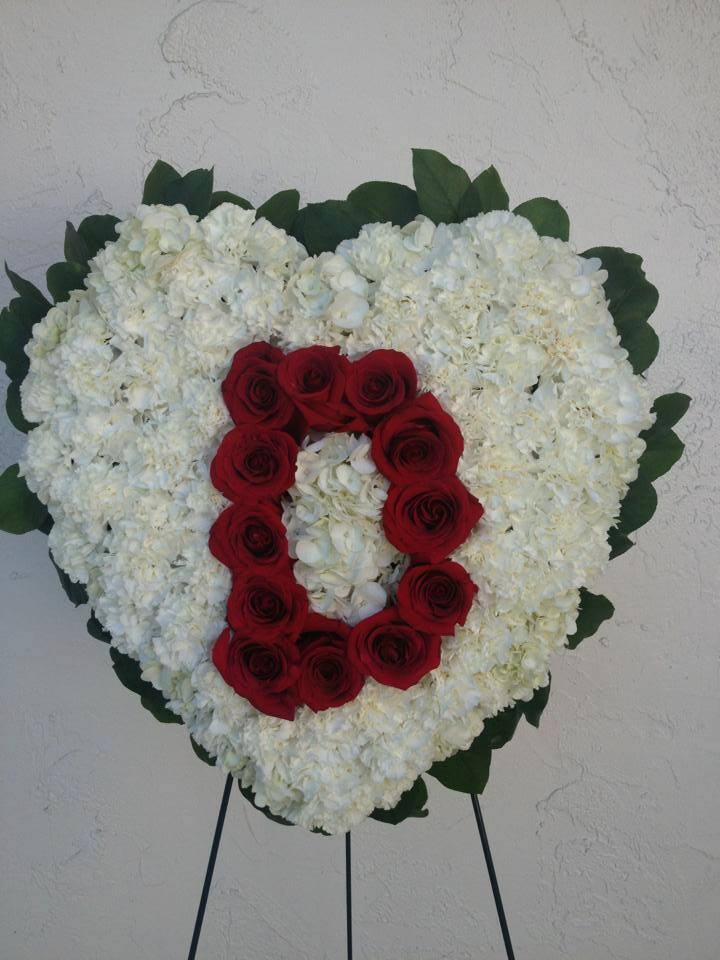 Monogramed closed heart wreath from Darby's Florist in Coral Springs, FL