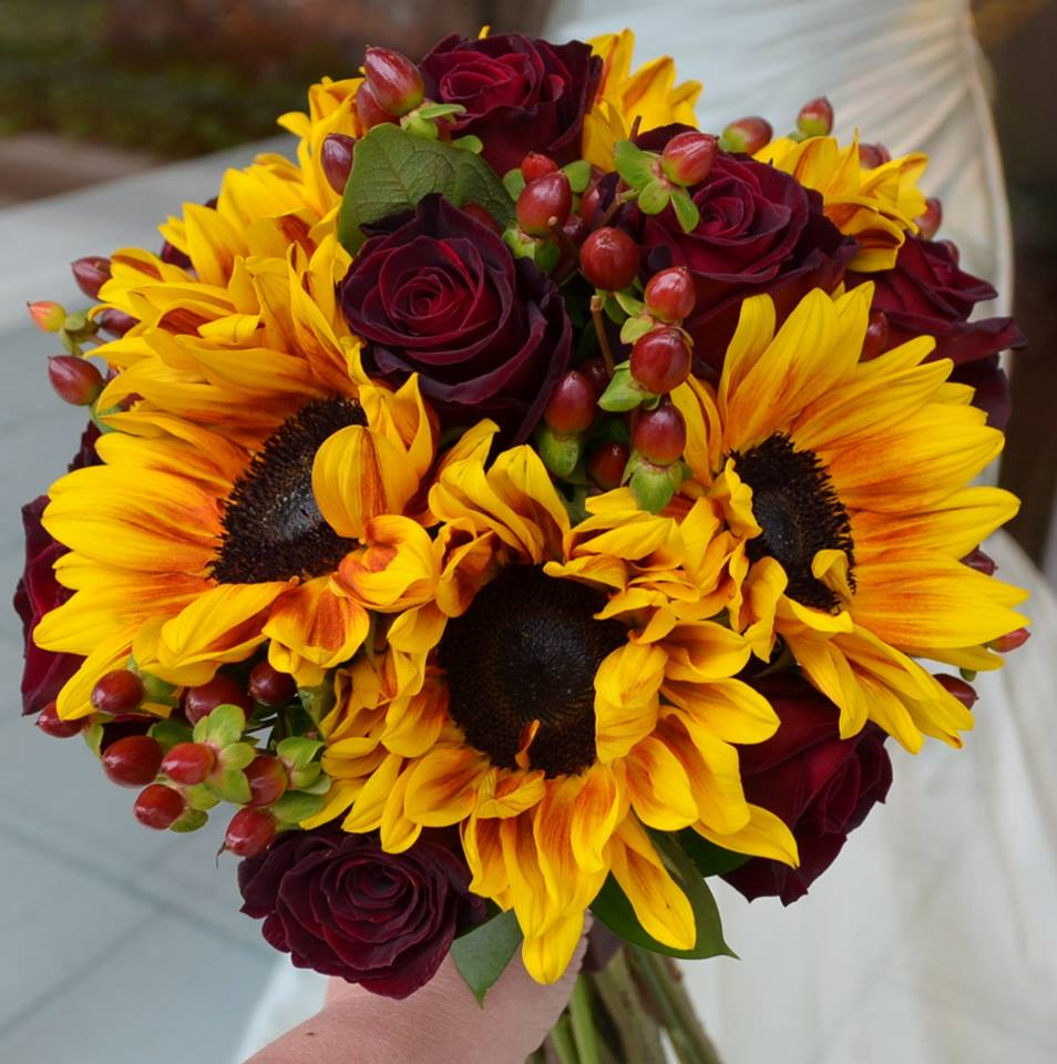 Friday florist recap 112 118 fall colors red and yellow brides bouquet by monday morning flowers mightylinksfo