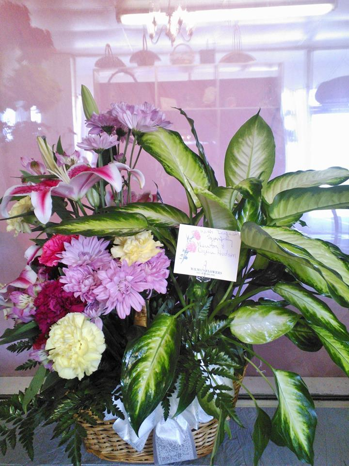 Sympathy basket from Wilma's Flowers in Jasper, AL