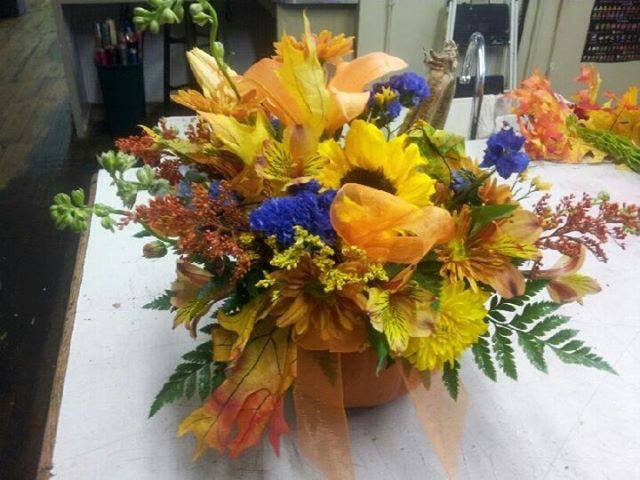Thanksgiving arrangement from Clarabella Flowers in Clare, MI