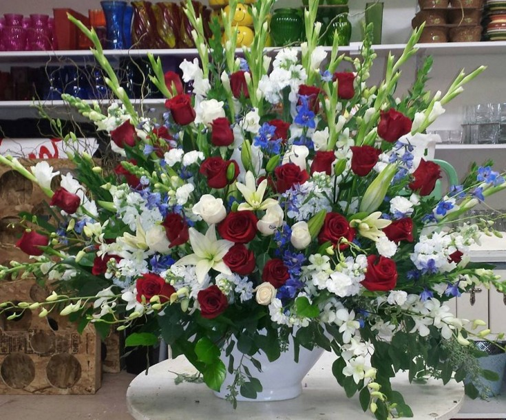 Veteran's Day arrangement from Robyn at Flowers and More in Fresno, CA