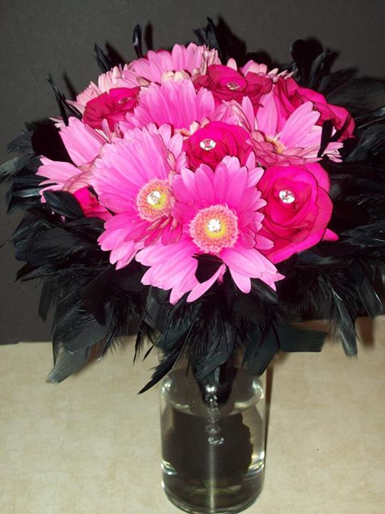 Pink & Black bouquet by Com-Patt-ibles Floral Elegance, Wooster OH
