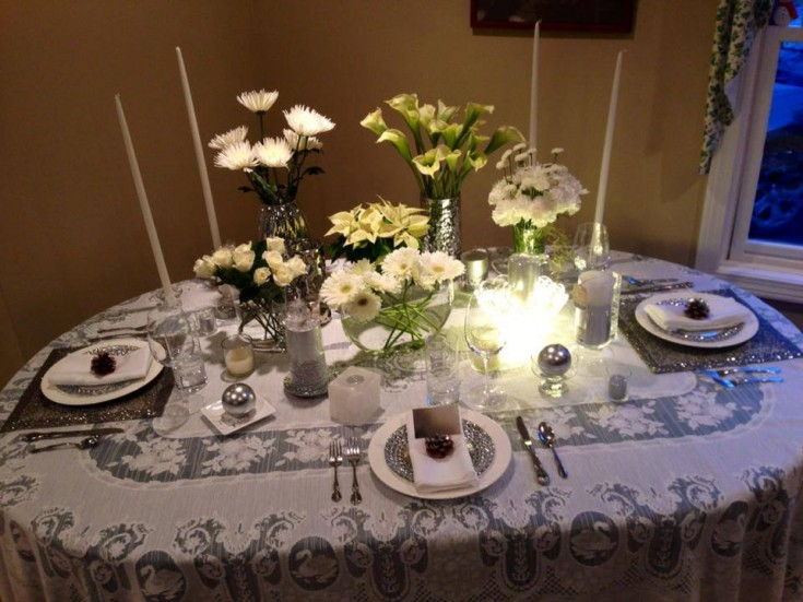 A tablescape from A Flower A Day in Colchester, VT