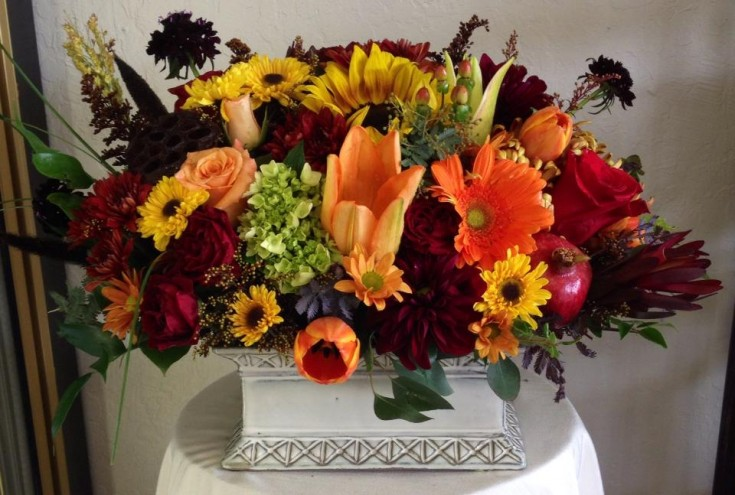 Fall centerpiece from Robyn of Flowers and More in Fresno, CA