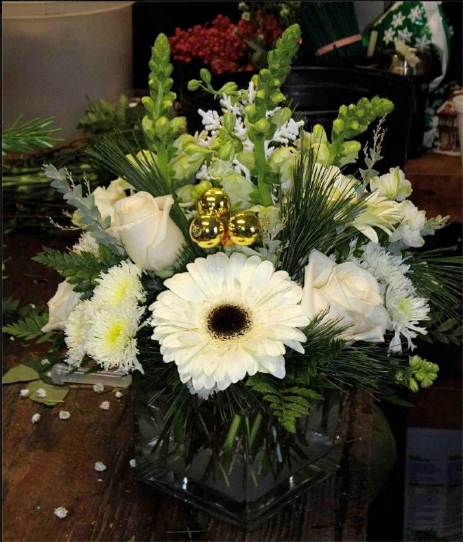 Winter arrangement from Montgomery Florist in Montgomery, NY