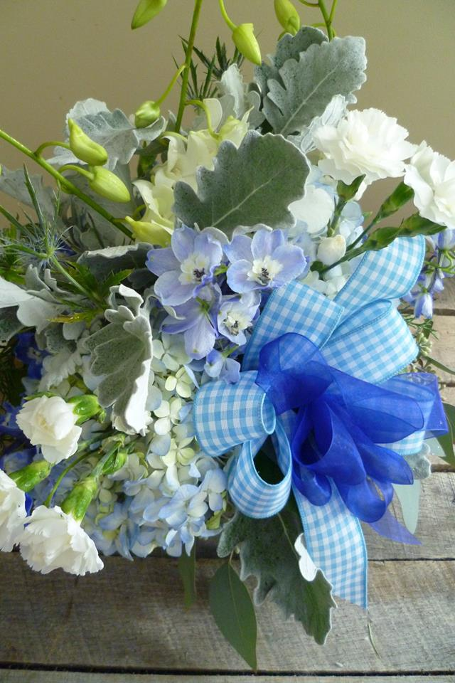 Bright and cheery welcome for a baby boy by Paisley Floral Design Studio in Manchester, NH