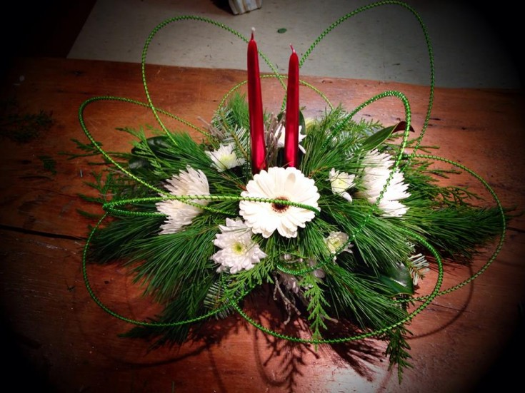 Christmas centerpiece from Petals in Thyme of Wasaga Beach, ON