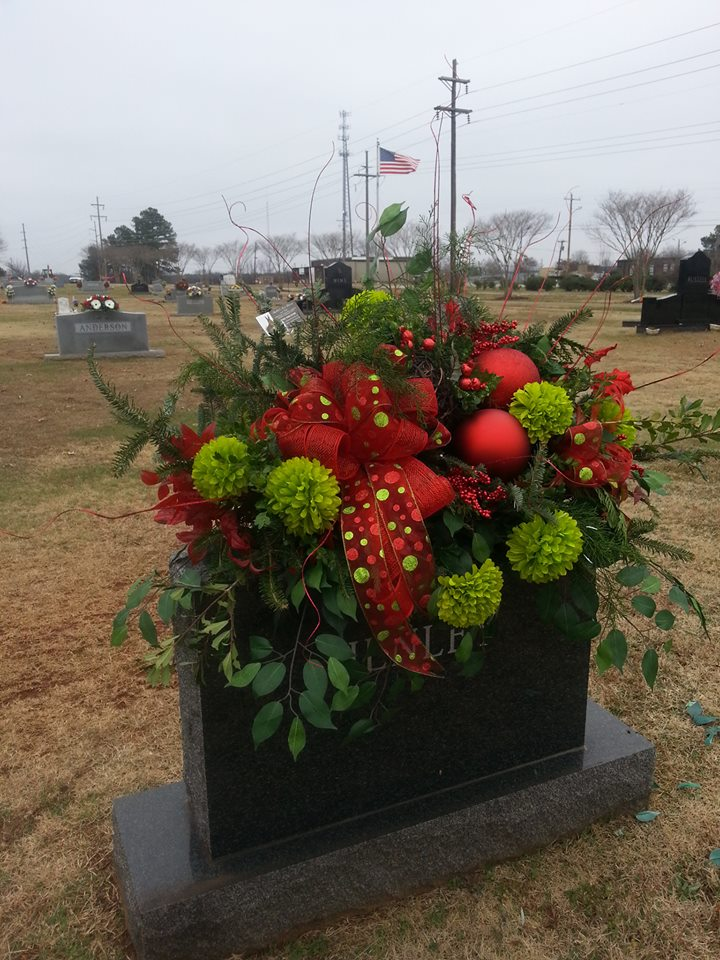 Gorgeous cemetery arrangement from Rabbit's Nest Florist and Gifts in Madison, AL