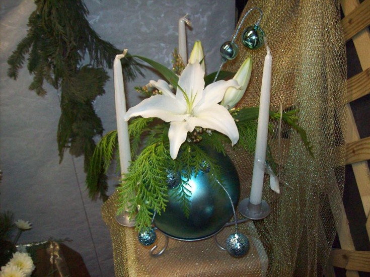 Holiday arrangement from Cristel Pullin Spartz of Colonial Flowers in Rochelle, IL