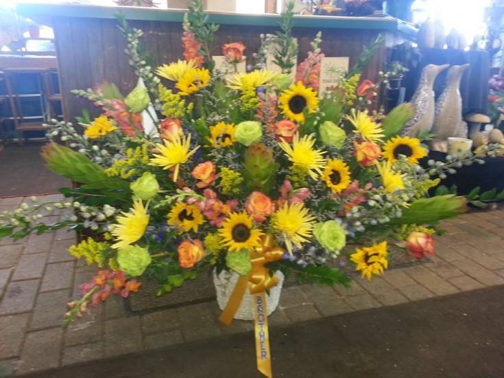 Sympathy arrangement from Holtz Garden Center in Ham Lake, MN