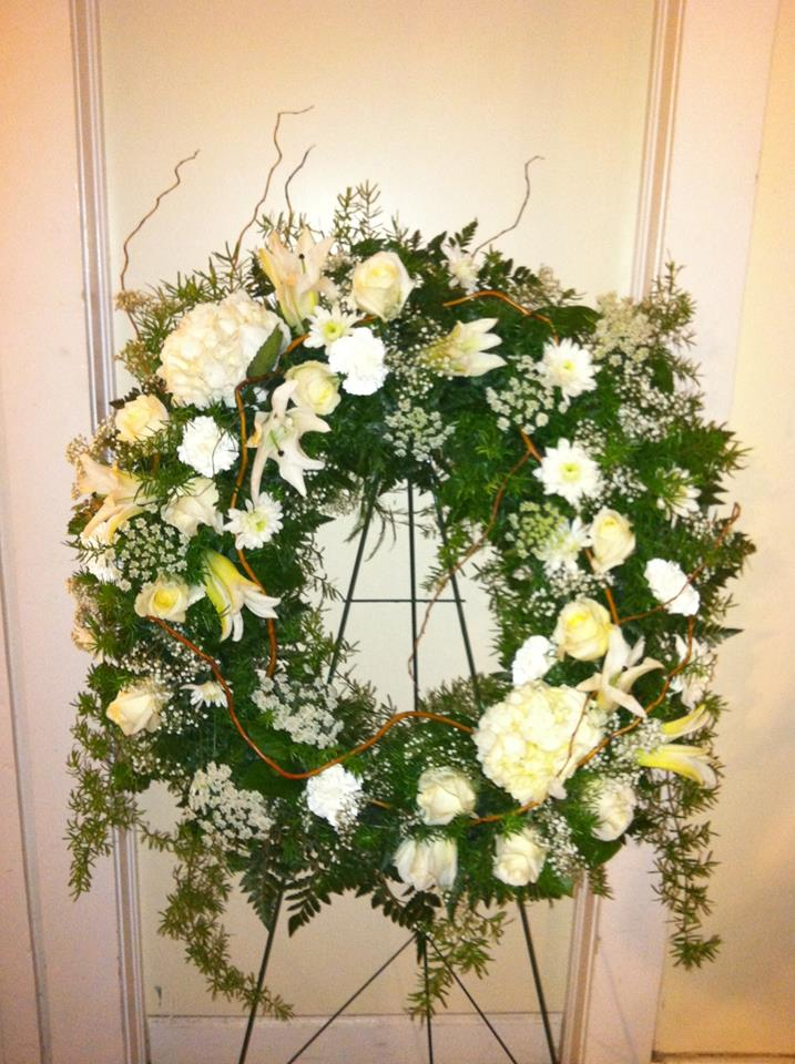 Sympathy wreath from The Cottage Florist in Riverview, FL