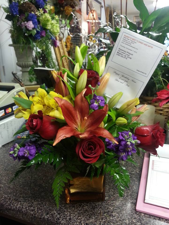 Tropical burst of color from Rabbit's Nest Florist and Gifts in Madison, AL