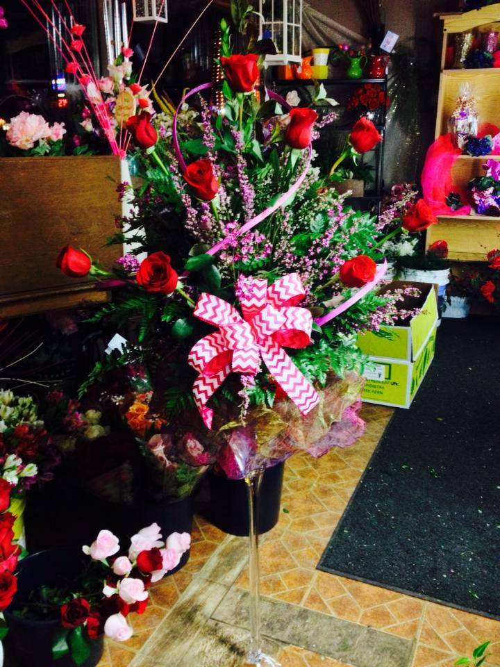 A 3ft tall martini glass and a dozen roses from Helen's Flowers & Gifts in Greenville, OH