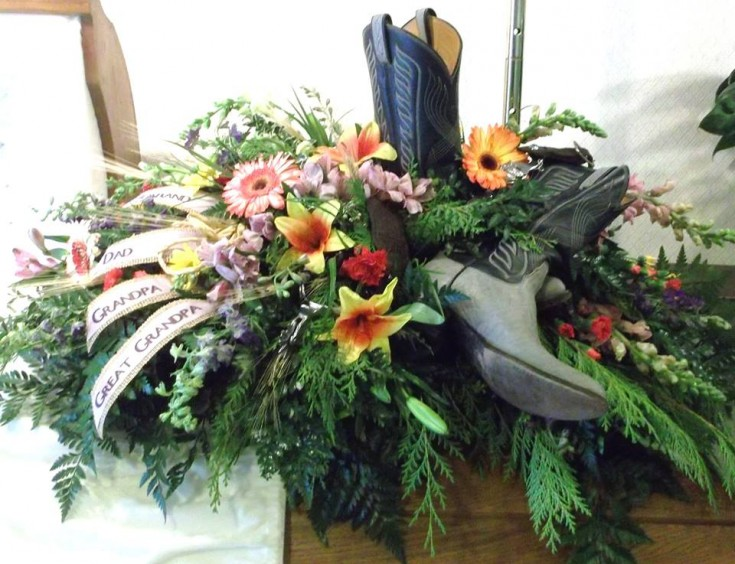 Memorial flowers for a rancher who loved gardening from A-1 Flowers & More in Cottonwood, ID