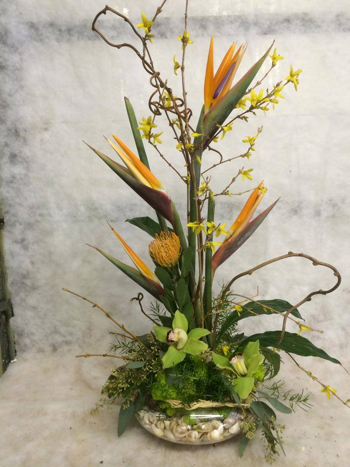 A Tropical arrangement from Hobby Hill Florist in Sebring, FL