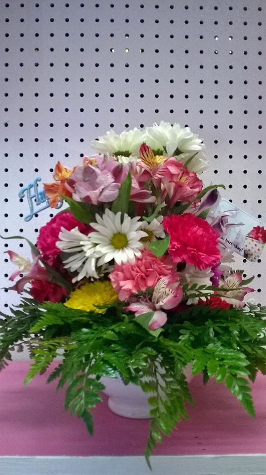 A birthday arrangement from Wilma's Flowers in Jasper, AL
