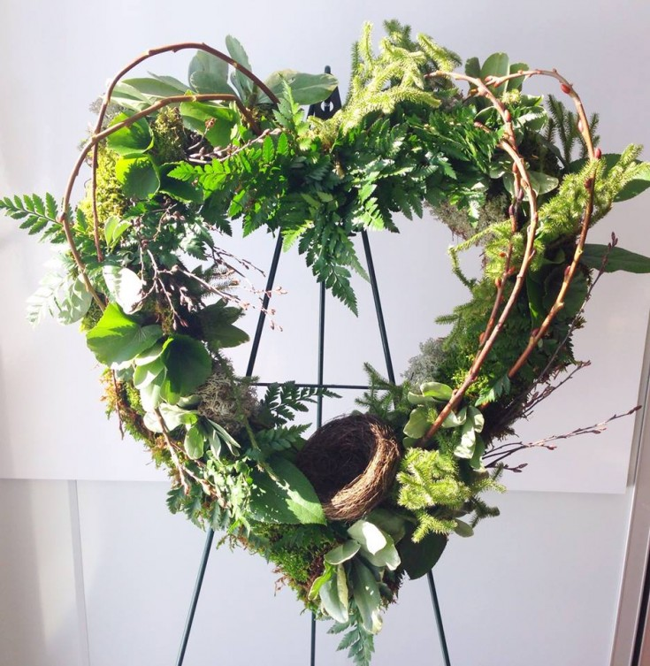 A nature-inspired funeral wreath by Petals in Thyme in Wasaga Beach, ON