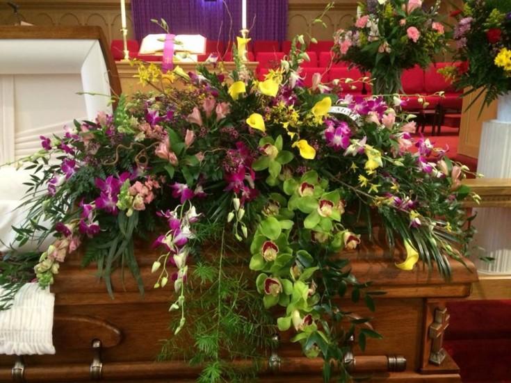 Beautiful casket spray from Hobby Hill Florist in Sebring, FL
